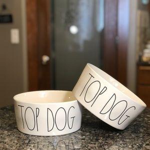 🆕 Rae Dunn Set of 2 TOP DOG Large Dog Bowls